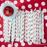 Retro/Vintage Wedding- paper straws in red, turquoise & black