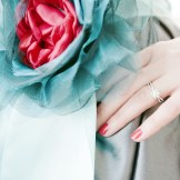 Vintage style bride Denver- red & turquoise detail on dress