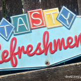 "Vintage Wedding Rentals Denver- ""Tastey Refreshments"" sign"
