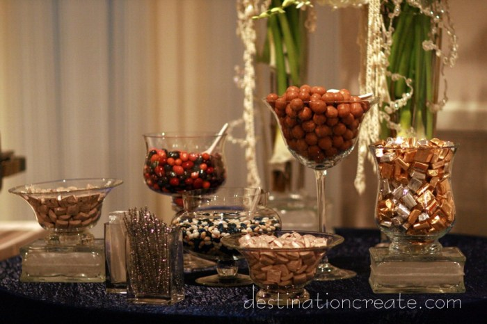 Candy buffet ideas: Destination Create offers full to partial wedding planning, decorating, styling, planning & specialty rentals.