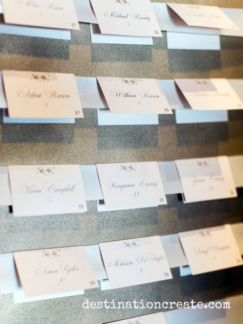 Escort cards were displayed on gold spray painted stretched canvas installed in gold frames