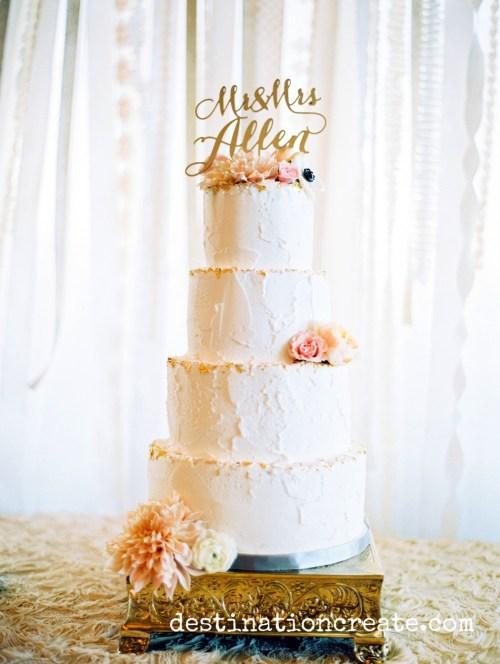 wedding cake with gold BHLDN topper