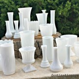 Milk glass vases are fantastic for simple, romantic or vintage florals. Available sizes: 23 tall narrow bud, 15 short narrow bud, 20 misc shapes