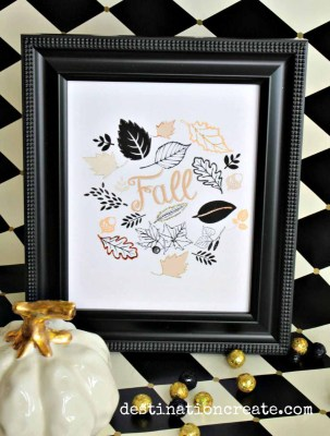 Autumn is the best time of the year & black & gold are trending for Fall.Download this simple and pretty Fall Printable that I've designed for you. It's even prettier when embellished with a little glitter. See the tutorial here: http://destinationcreate.com/pretty-fall-printable/