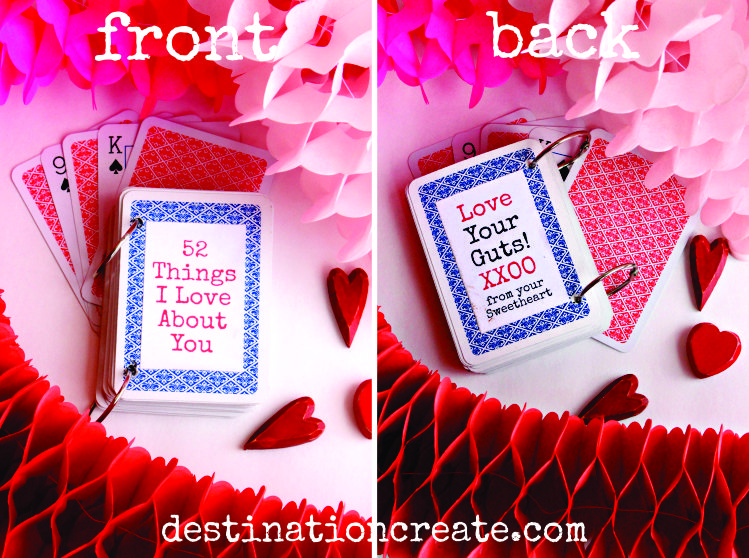 """Looking for a quick & easy DIY Valentine Gift idea? I have just the thing. Turn a deck of playing cards into a """"52 Reasons I love You"""" book. Your Sweetie will swoon! This idea is perfect for an anniversary gift or birthday gift."""