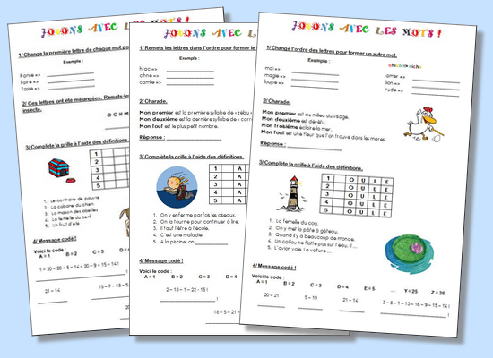 Jeux de vocabulaire - Cycle 2 et Cycle 3