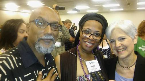 Anita Belle with Dr. Jill Stein For President and Ajamu Baraka at University of Houston.