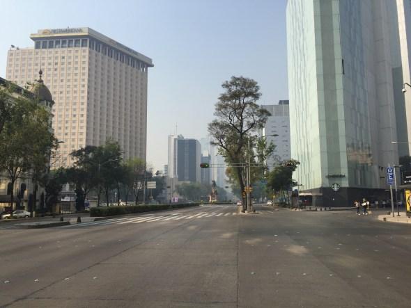 Avenida Reforma en México sin autos