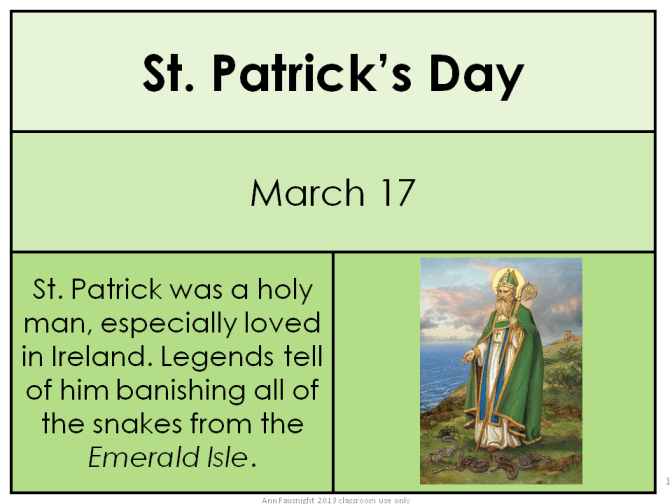 Saint Patrick word of the day card freebie