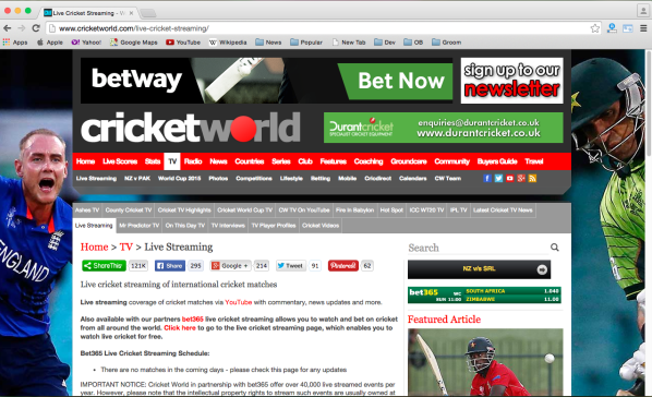best sites to watch cricket world cup 2015 online for free - cricketworld