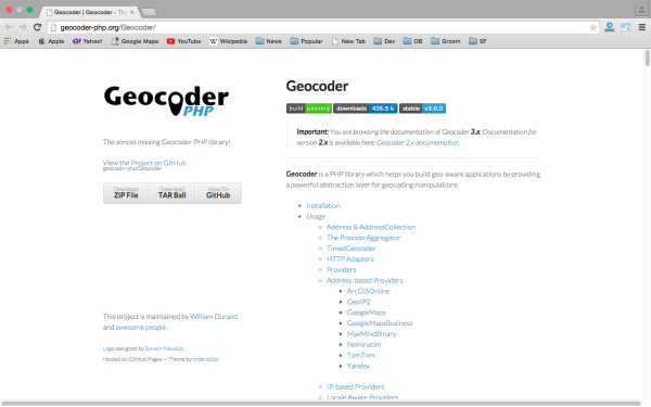 geocoder - Best PHP development tools 2015