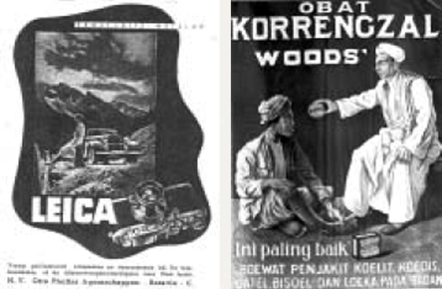 Gambar 3. (a) Iklan yang menawarkan kamera bermerk Leica , iklan ini dimuat dalam majalah Java Express (1938); (b) Iklan yang menawarkan salep kulit dibuat pada tahun 1930.