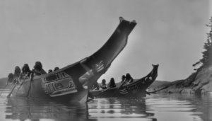 Nuu-chah-nulth war canoes (Edward Curtis, BC Historical Society)