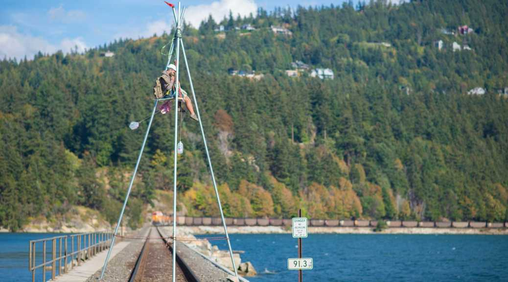 Activist blockading Bellingham coal train