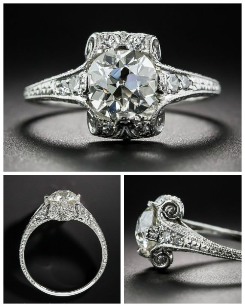 A fantastic die-struck Art Deco engagement ring from the 1920's with a sparkling 1.38 carat center stone. Such incredible details! From Lang Antiques.