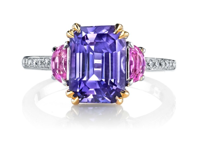 The Monaco ring by Omi Prive; featuring a 4.01 carat emerald cut lavender sapphire with pink sapphires and diamonds in white and rose gold. I love Omi Prive rings.