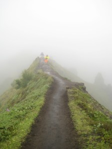 I'm glad it was misty so I was little less aware of the 2,000 foot drop on both sides of this ridge.