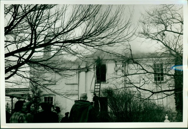 A fire ravaged the Lady Pepperrell House on December 27, 1945 and caused extensive damage.  The home was restored by X and Y.  Portsmouth Herald photo from Historic New England digital collections.