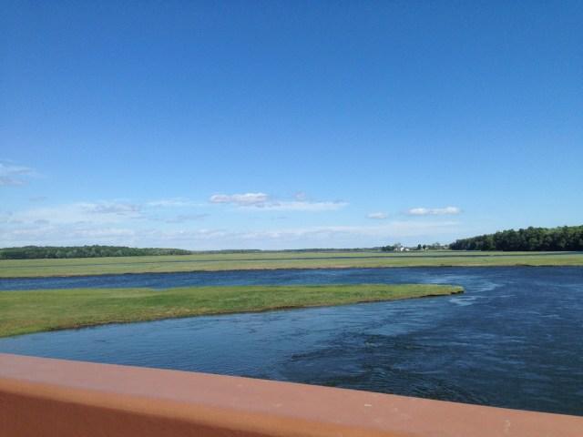High tide at Scarborough Marsh, taken from the pedestrian/bike bridge that crosses the marsh.