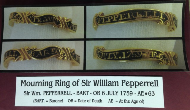 At the Kittery Naval and Historical Museum, visitors can look at mourning rings crafted to commemorate the death of Sir William Pepperrell.  These rings were worn by relatives and others to show they were in mourning.  We should do more of that kind of memorial today, although the cost of purchasing 14K gold rings for a large number of mourners is probably reserved to the  1%,  as was likely also the case in 1759.