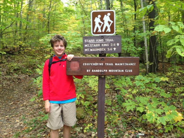 Setting off on the Starr King Trail to Mount Waumbek, for a hike totaling 7.2 miles and about 2,650 vertical feet.
