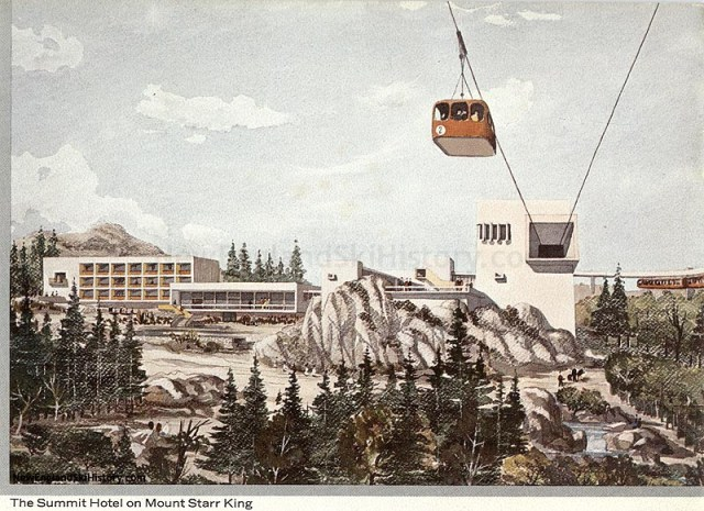 1964 rendering of the hotel and tramway proposed for the summit of New Hampshire's Mount Starr King.