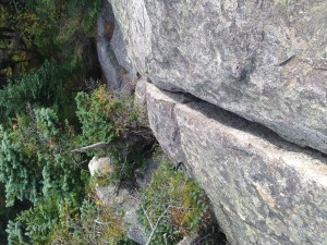 The friendly crack (from perspective above) that gave me leverage to pull myself up and scramble down the Horn.