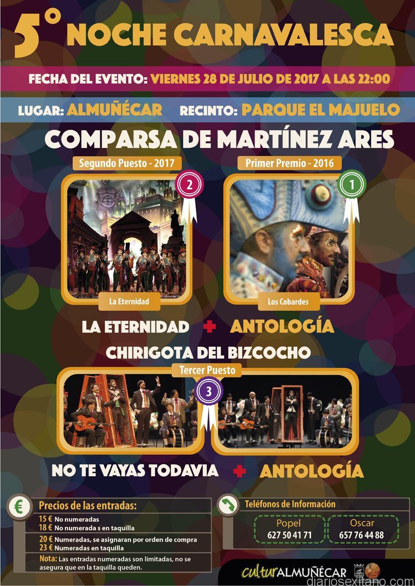 Almuñécar vivirá la V Noche Carnavalera con la Comparsa de Martínez Ares