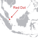 Singapore as a red dot on a map.