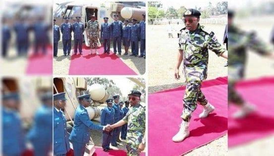 Nairobi Senator Mike Sonko impersonates President Uhuru Kenyatta's military gear