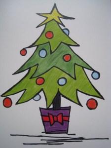 dibujos a lápiz de arbolitos de navidad (1)
