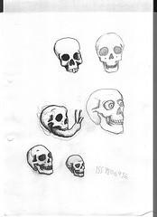 Dibujos a lápiz de calaveras y huesos (8)