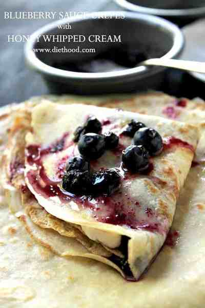 Blueberry Sauce Crepes with Honey Whipped Cream Recipe   Diethood