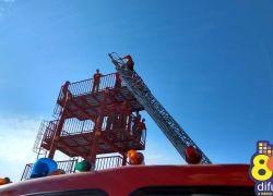 Bombeiros de Bento realizam treinamento com Auto-Escada Mecânica