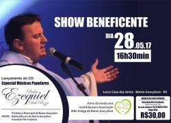 Show do Padre Ezequiel ocorre dia 28 em Bento e auxiliará o Projeto Mão Amiga