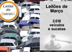 Leilões do DetranRS ofertam mais de 2 mil veículos e sucatas em março