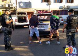 Após roubo de veículo, dupla é presa pela Brigada em Bento