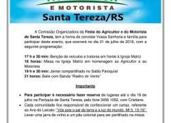 Festa do Agricultor e Motorista ocorre em Santa Tereza dia 21