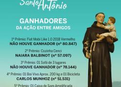 Confira os ganhadores da rifa da 140ª Festa de Santo Antônio de Bento