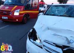 Acidente com três veículos deixa duas pessoas feridas na BR-470 em Bento