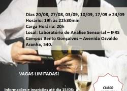 IFRS: Abertas as inscrições para Curso de Degustação e Serviço de Vinhos do Brasil