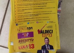 A pedido do MP Eleitoral, materiais de campanha em diretórios do PT e do PCdoB são apreendidos no RS
