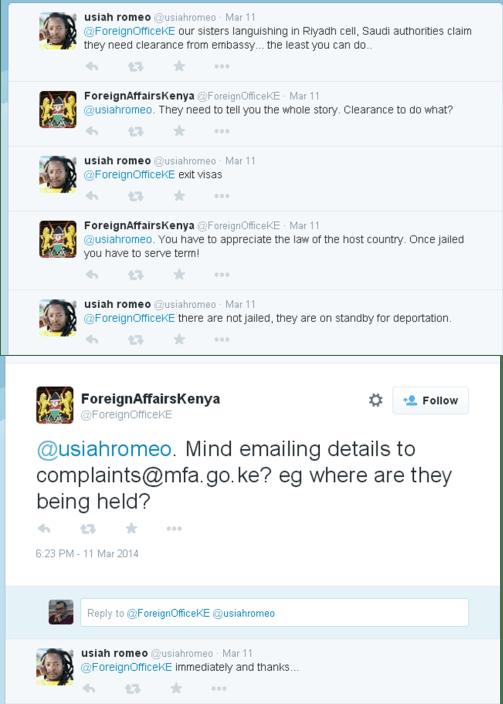 MFA Kenyan réagissant à une sollicitation d'un internaute