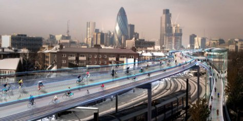 Working with Exterior Architecture and Foster + Partners, Space Syntax has created a network of strategic cycle routes above London's railway corridors. Integrating with street-based cycling at carefully selected node points, SkyCycle adds capacity for half a billion annual cycling journeys.