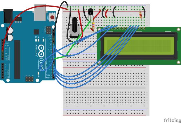 LCD display Arduino UNO breadboard diagram