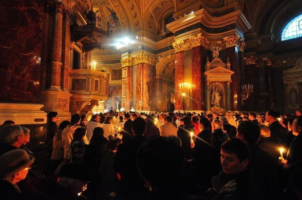 Hungarians Celebrating Easter Mass in the St Stephens Basilica in Budapest Hungary