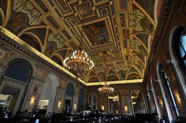 fresco ceiling lotz terem budapest hungary