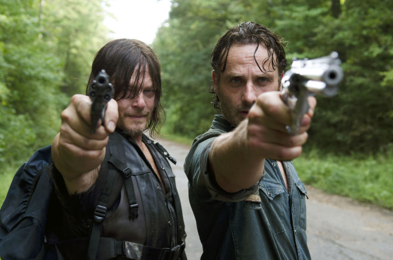 Norman Reedus as Daryl Dixon and Andrew Lincoln as Rick Grimes in The Walking Dead S06E10: 'The Next World'