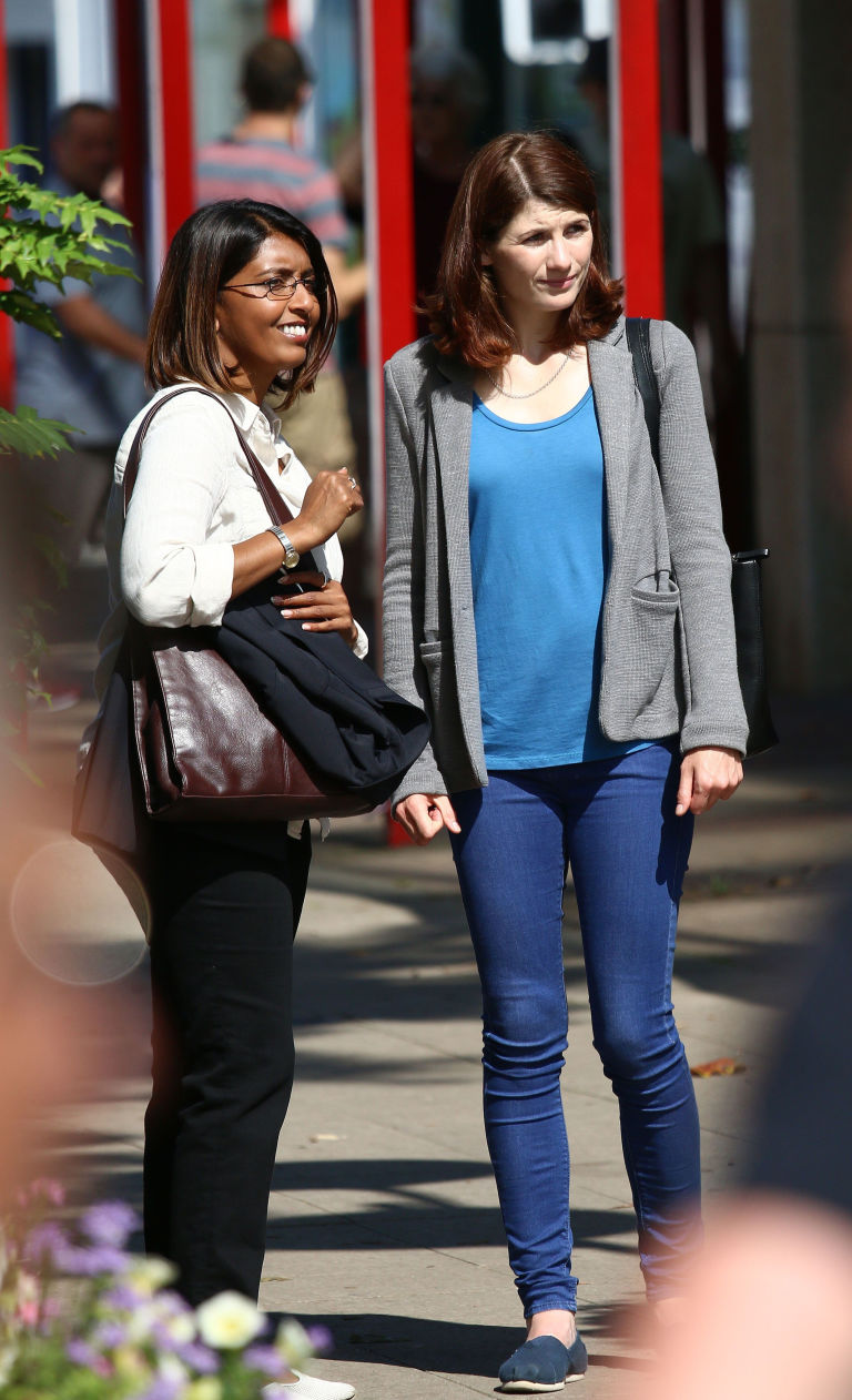 Sunetra Sarker, Jodie Whittaker filming for Broadchurch