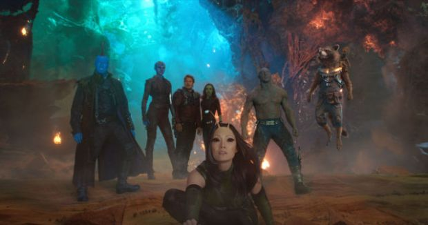 Yondu (Michael Rooker), Nebula (Karen Gillan), Star-Lord/Peter Quill (Chris Pratt), Gamora (Zoe Saldana), Mantis (Pom Klementieff), Drax (Dave Bautista), Rocket (Voiced by Bradley Cooper) and Groot (Voiced by Vin Diesel)